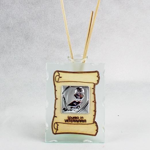 Profumatore in vetro con Pergamena e Piastra Laurea in Veterinaria