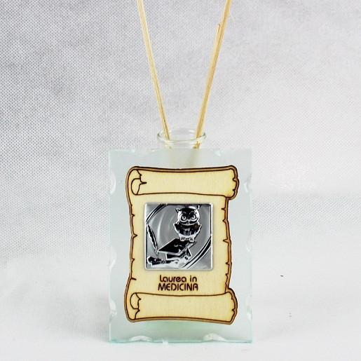 Profumatore in vetro con Pergamena e Piastra Laurea in Medicina