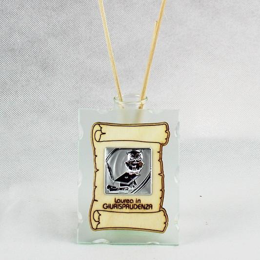 Profumatore in vetro con Pergamena e Piastra Laurea in Giurisprudenza