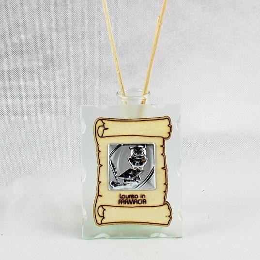 Profumatore in vetro con Pergamena e Piastra Laurea in Farmacia