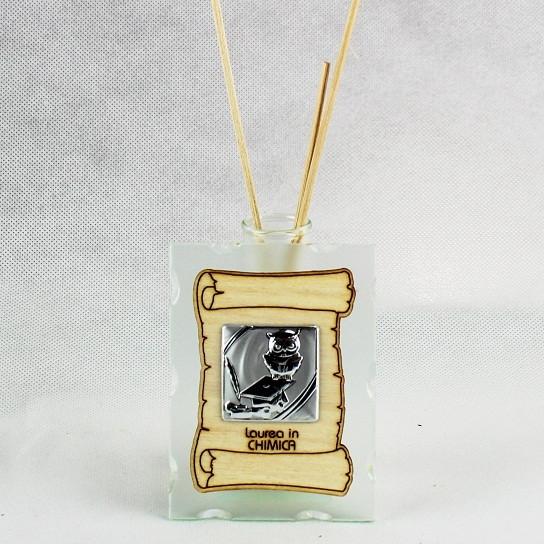 Profumatore in vetro con Pergamena e Piastra Laurea in Chimica