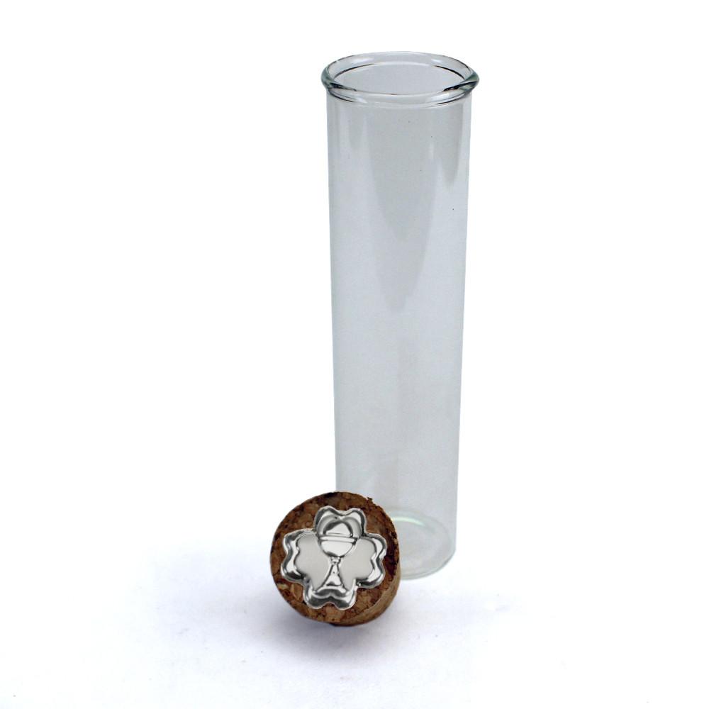 Provetta Portaconfetti in vetro Shabby Chic Quadrifoglio Calice della Prima Comunione con Tappo Sughero Confettata