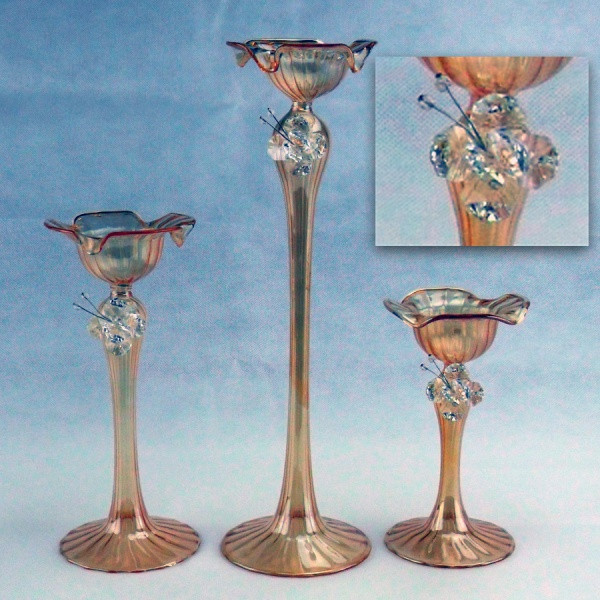 Candeliere in vetro soffiato con farfalla in cristallo e scatola