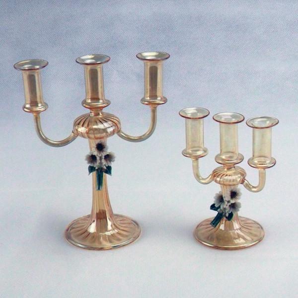 Candeliere in vetro con fiore in ceramica e scatola