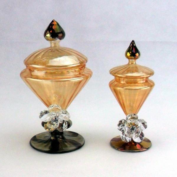 Portagioie in vetro soffiato con fiore in cristallo brillante completo di scatola