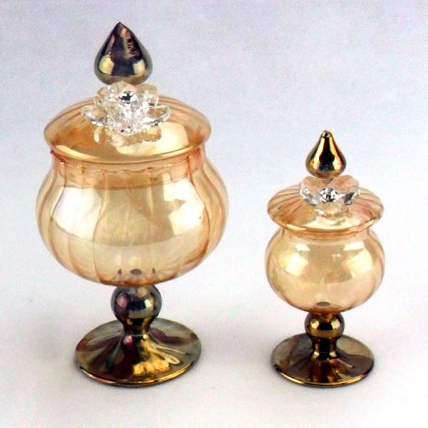 Portagioie in vetro soffiato con fiore in cristallo completo di scatola