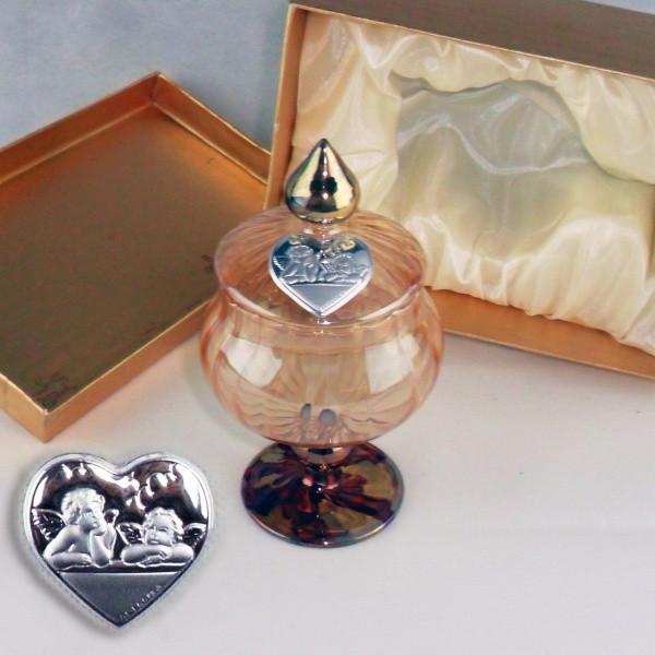 Portagioie in vetro soffiato con piastra puttini completo di scatola