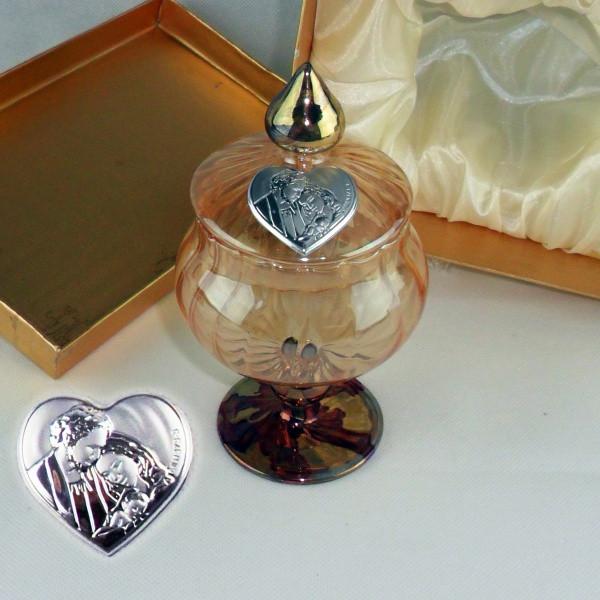 Portagioie in vetro soffiato con piastra sacra famiglia completo di scatola