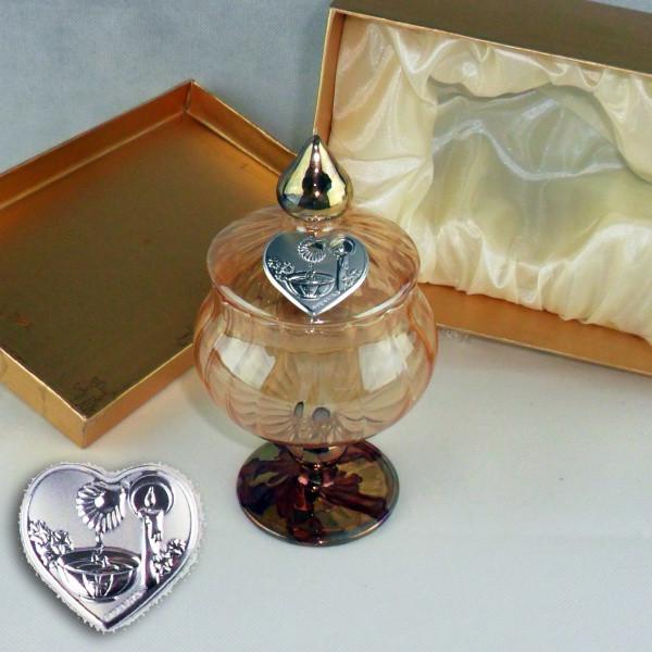 Portagioie in vetro soffiato con piastra battesimo completo di scatola