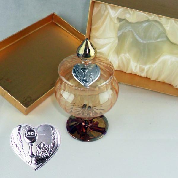 Portagioie in vetro soffiato con piastra calice comunione completo di scatola
