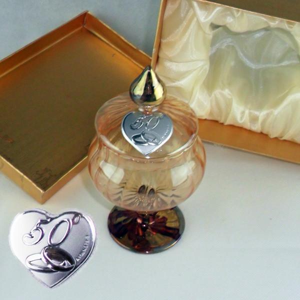 Portagioie in vetro soffiato con piastra 50°anniversario completo di scatola