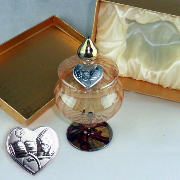 Portagioie in vetro soffiato con piastra cresima completo di scatola