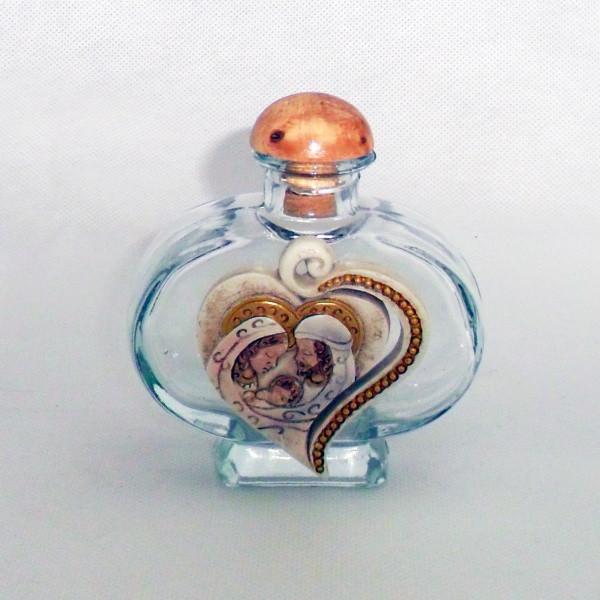 Bottiglia Barattolo in vetro cuore con Sacra Famiglia