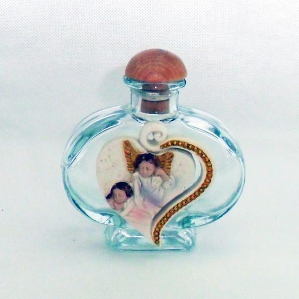 Bottiglia Barattolo in vetro cuore con Bimbo Angelo