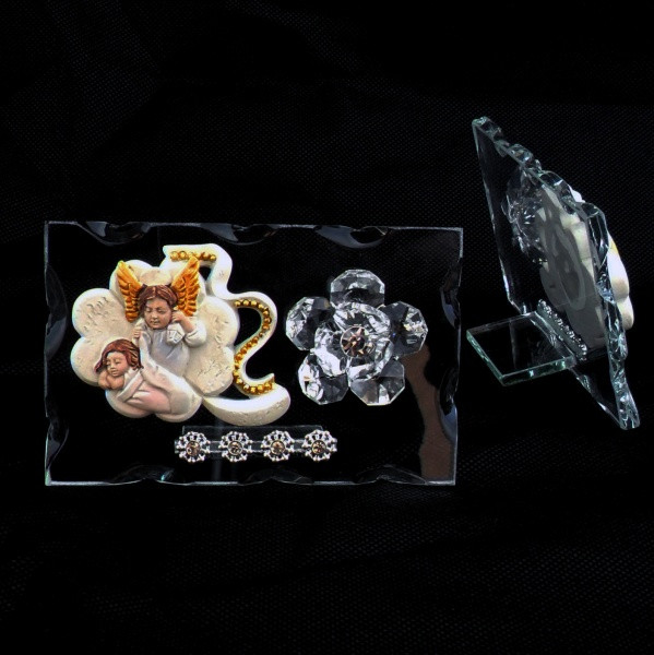 Icona quadrifoglio portafortuna Bimbo con Angelo e fiore in cristallo
