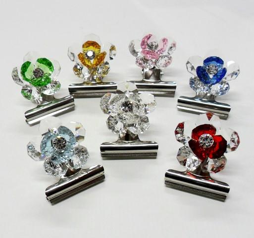 Fermacarte con fiori in cristallo vari colori