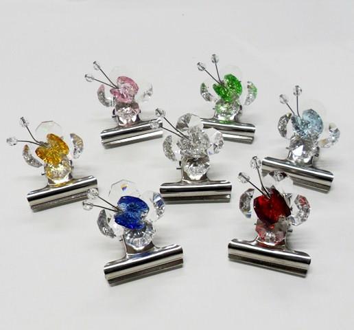 Fermacarte con farfalle in cristallo vari colori
