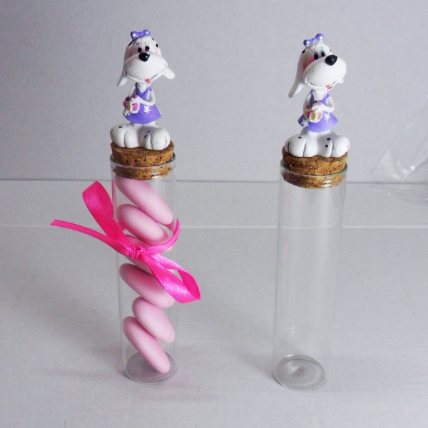 Barattoli con Cagnolini in resina bianco e lilla (24 pezzi)