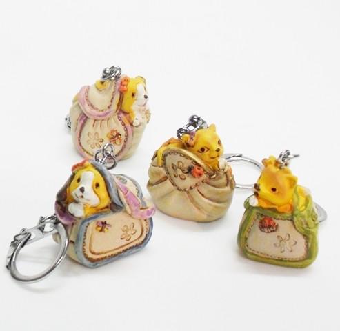 Portachiavi in resina, borsetta con animali (24 pezzi)