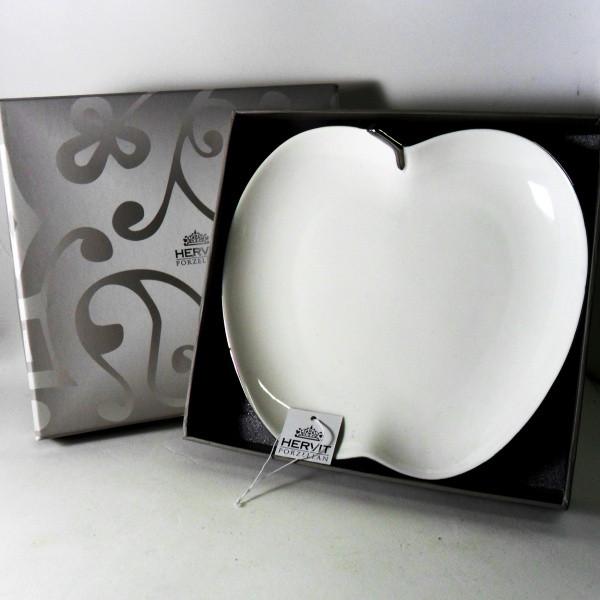 HERVIT Piatto mela porcellana bianca
