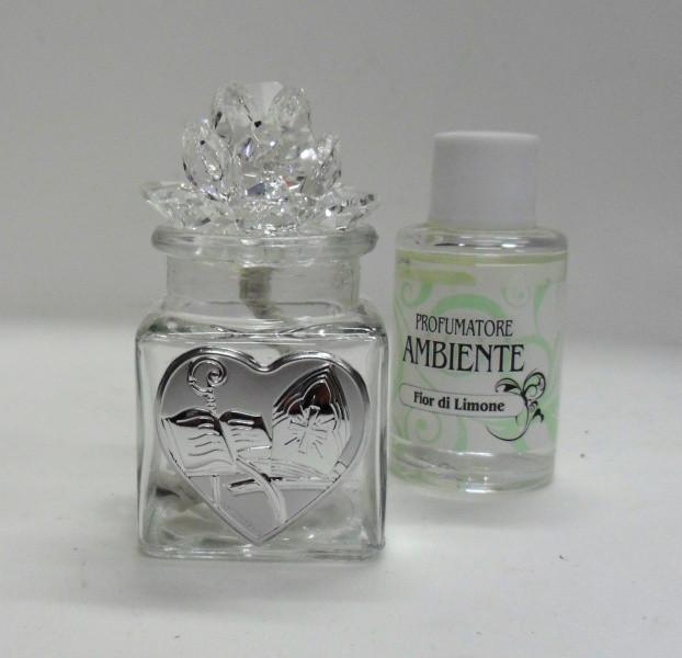 Profumatore per cresima con fiore in cristallo e piastra