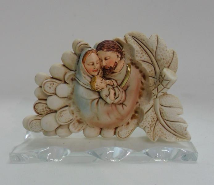 Icona Sacra Famiglia su base in vetro