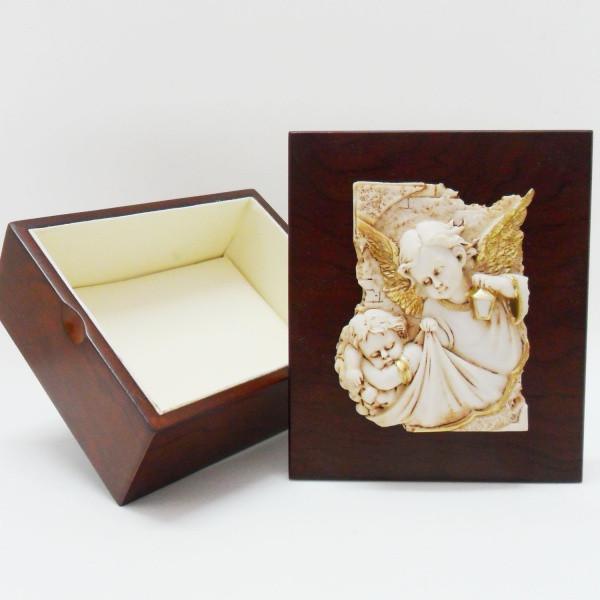 Portagioie in legno con angelo in resina