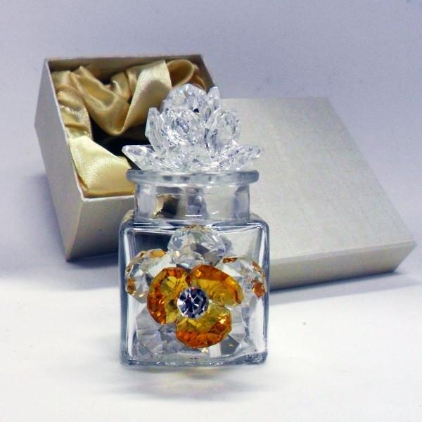 Profumatore con due fiori in cristallo e punto luce      _Giallo