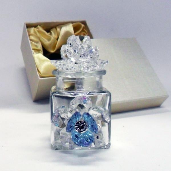 Profumatore con due fiori in cristallo e punto luce      _Azzurro