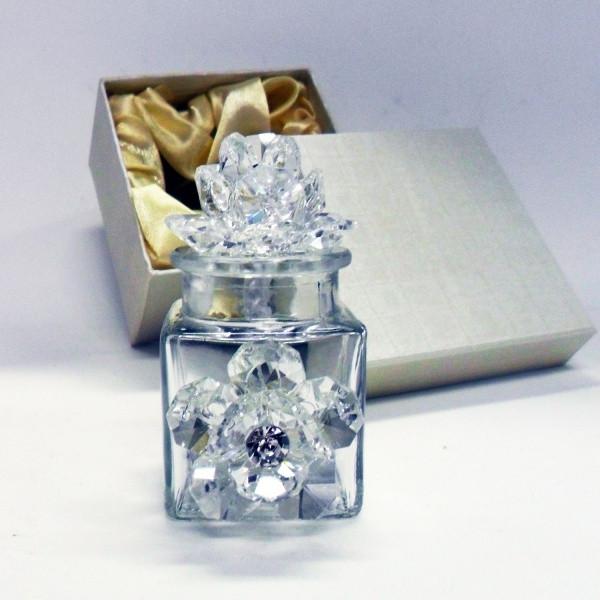 Profumatore con due fiori in cristallo e punto luce      _Trasparente