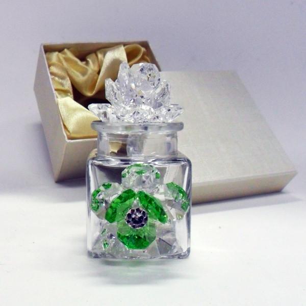 Profumatore con due fiori in cristallo e punto luce      _Verde