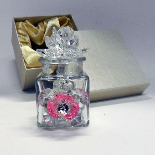 Profumatore con due fiori in cristallo e punto luce      _Rosa