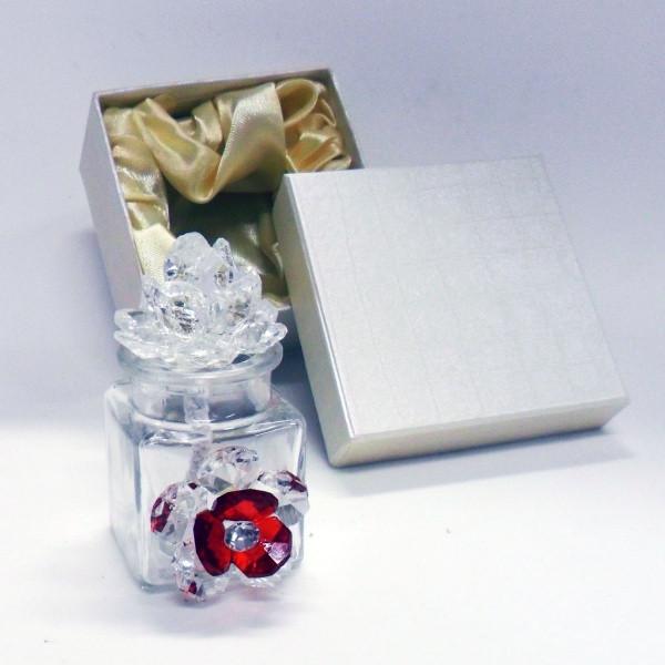 Profumatore con due fiori in cristallo e punto luce      _Rosso