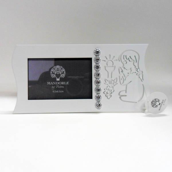Portafoto bimba comunione in legno, con punti luce ART PB12726