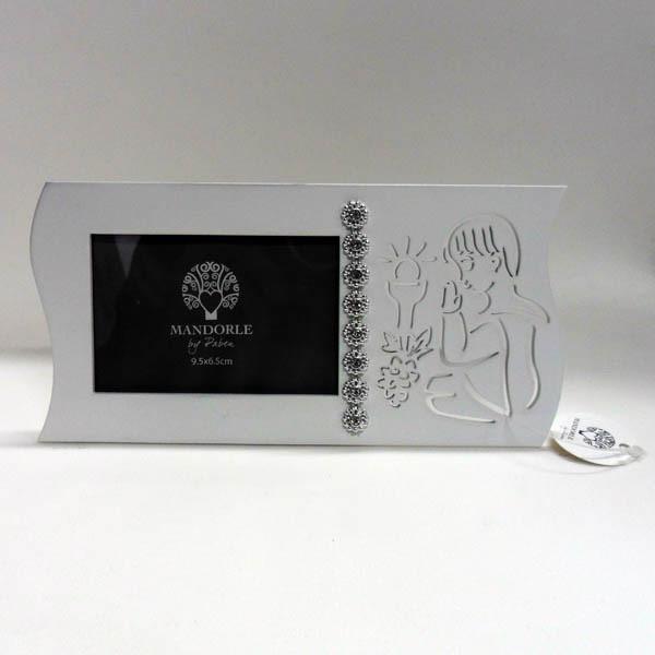 Portafoto bimbo comunione in legno, con punti luce ART PB12725
