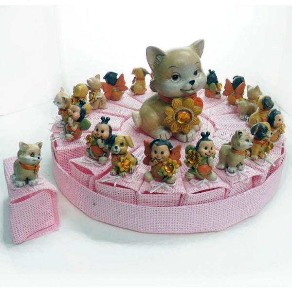 Torta con animaletti, 20 scatoline rosa più salvadanaio centrale