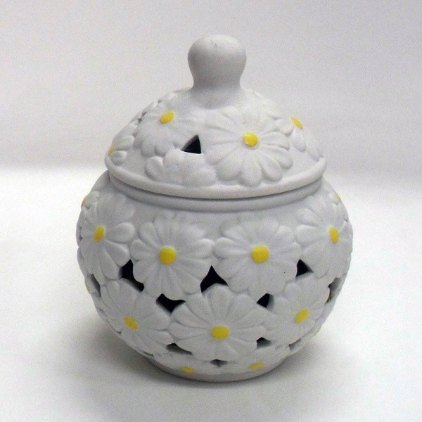 Potiche cofanetto, ceramica decoro margherite