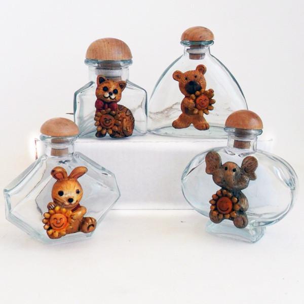 Barattoli in vetro con animali assortiti in resina