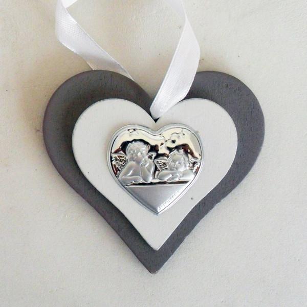 Icona cuore in legno con Angeli completa di scatola