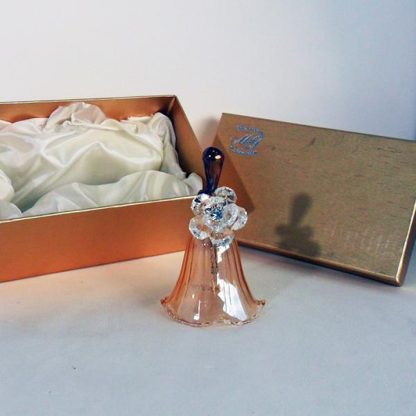 Campanella in vetro soffiato con fiore in cristallo completa di scatola