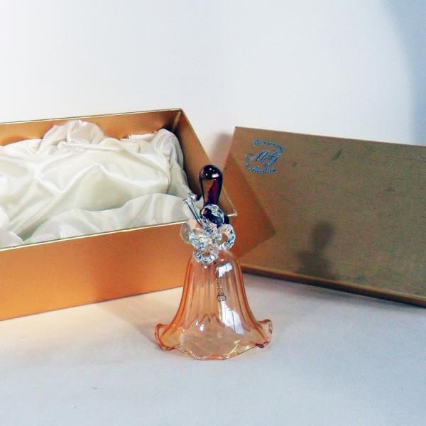 Campanella in vetro soffiato con farfalla in cristallo completa di scatola