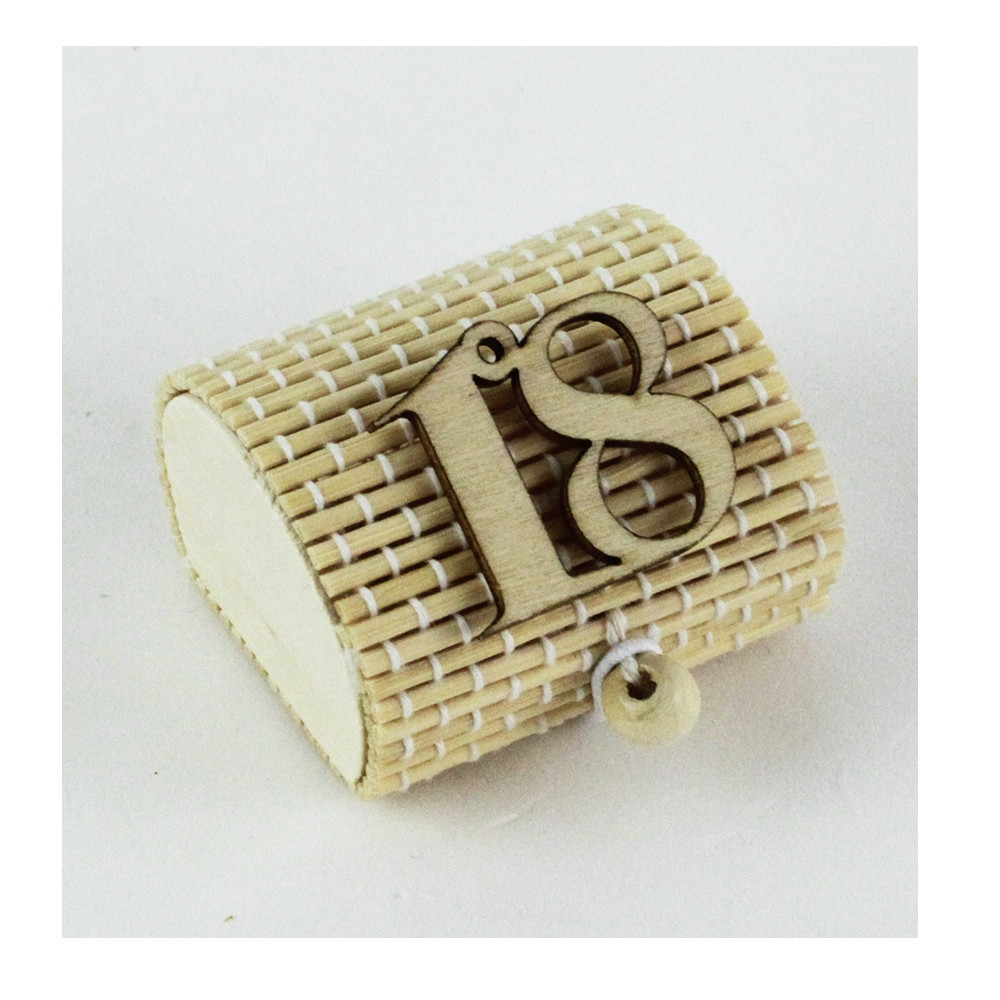 Scatola Portaconfetti in Bambu 18 Diciottesimo Compleanno Bambù Confettata Segnaposto