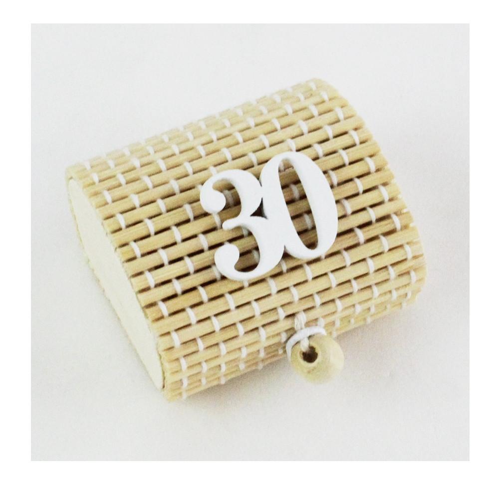 Scatola Portaconfetti in Bambu 30 Trentesimo Compleanno Bianco Bambù Confettata Segnaposto