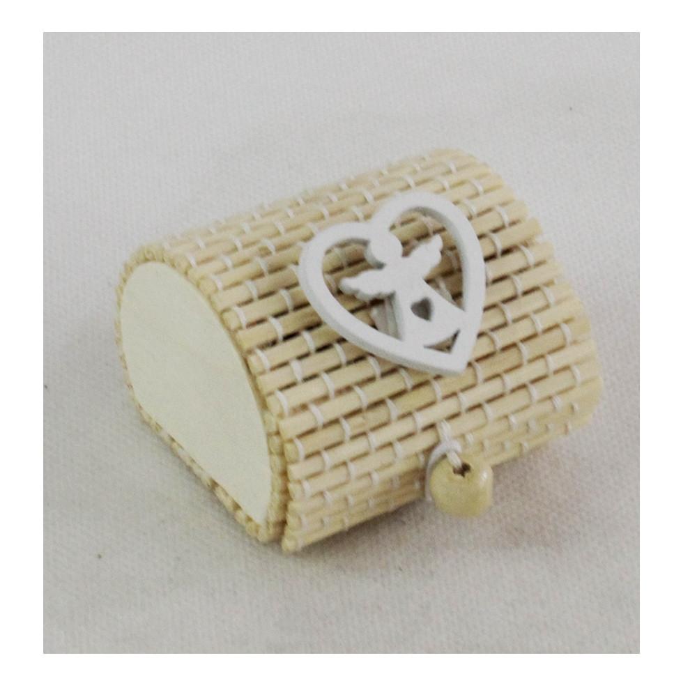 Scatola Portaconfetti in Bambu Bianco Angelo Angioletto Bambù Confettata Segnaposto