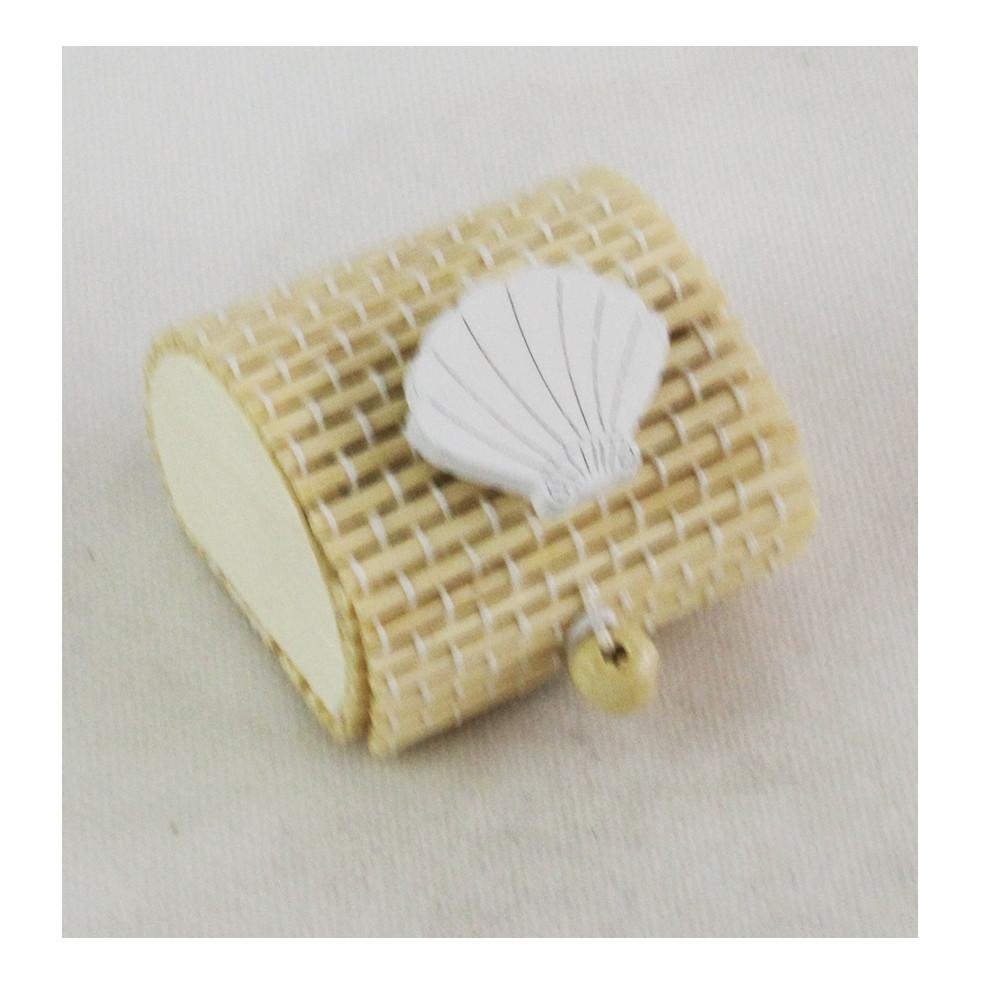 Scatola Portaconfetti in Bambu Conchiglia Bianca Capasanta Cammino di Santiago Mare Bambù Confettata Segnaposto