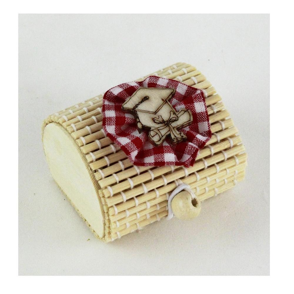 Scatola Portaconfetti in Bambu Fiocco Laurea Cappello Tocco Pergamena Bambù Confettata Segnaposto