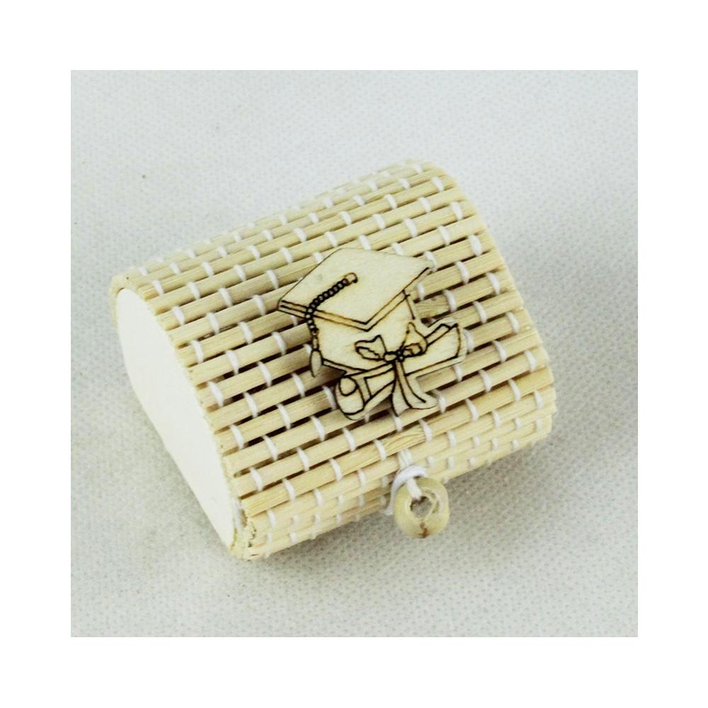 Scatola Portaconfetti in Bambu Laurea Cappello Tocco Pergamena Bambù Confettata Segnaposto