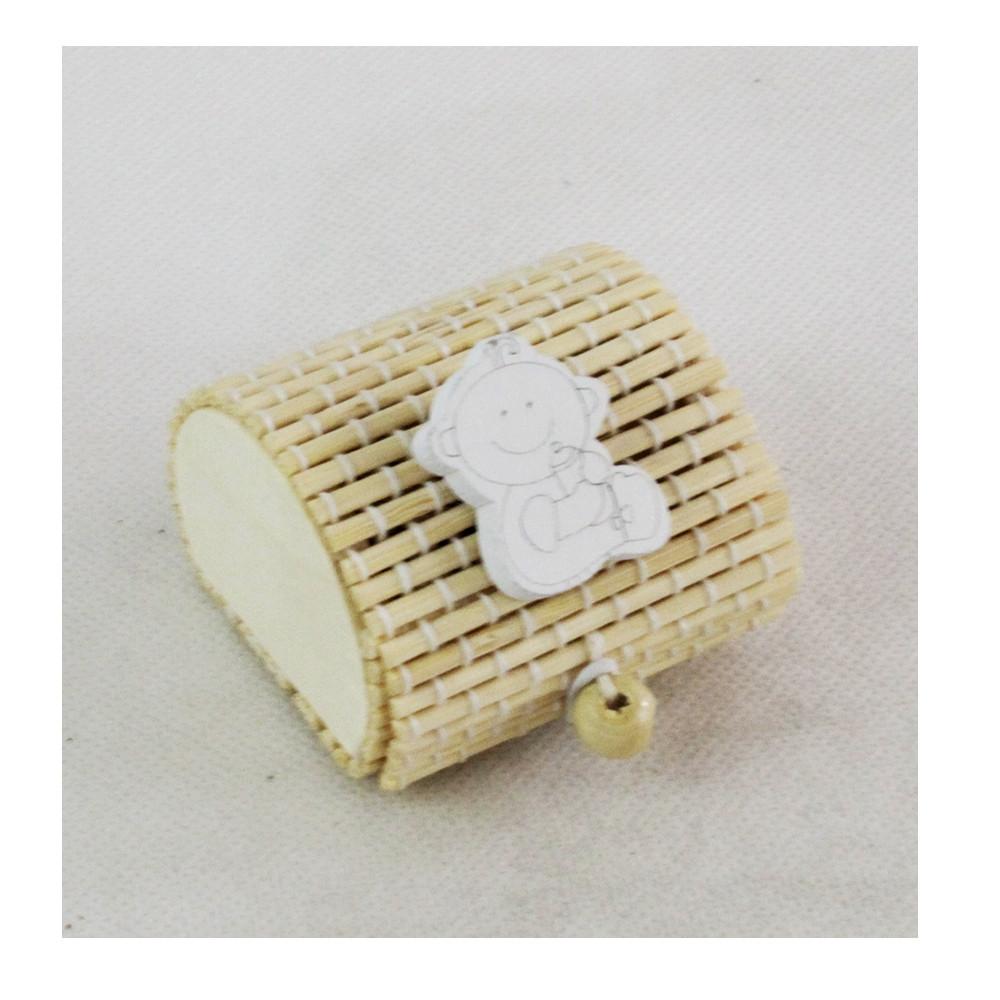Scatola Portaconfetti in Bambu Neonato Bebè Bianco con Biberon Nascita Bambù Confettata Segnaposto