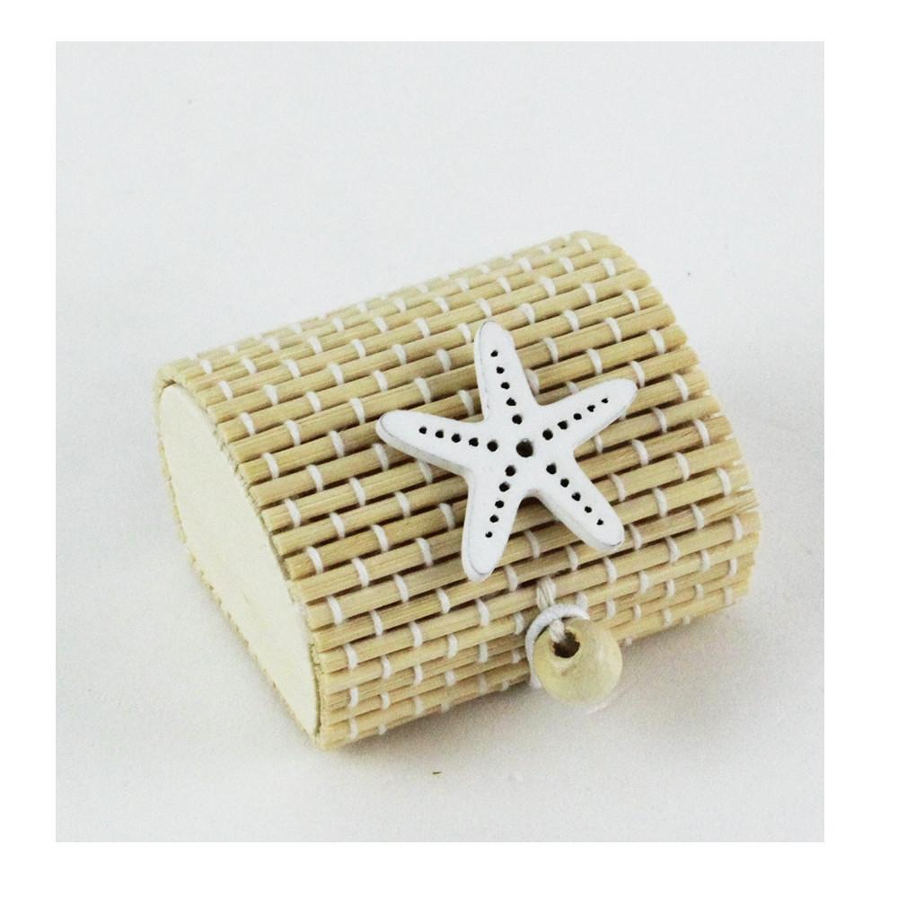 Scatola Portaconfetti in Bambu Stella Marina Bianca Mare  Bambù Confettata Segnaposto