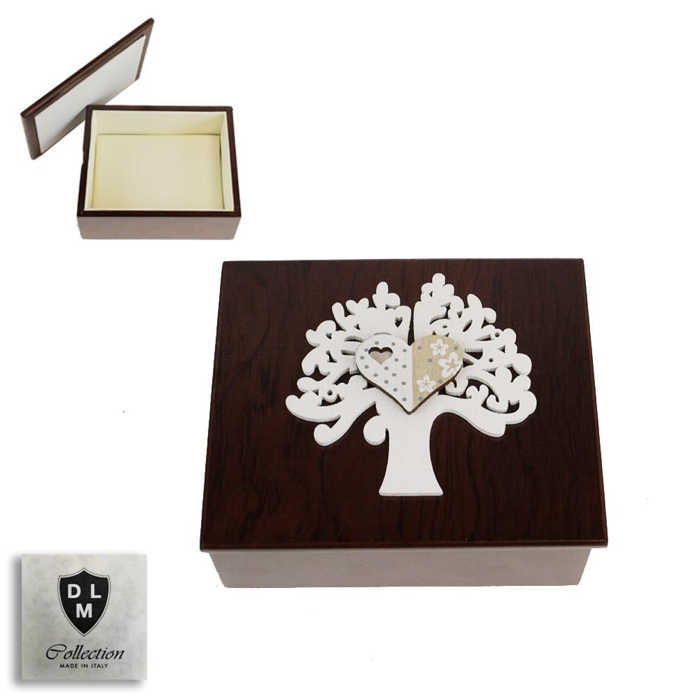 Scatola Portagioie in Legno Cuore Bianco Svuotatasche Albero della Vita Life Tree Matrimonio Battesimo Comunione